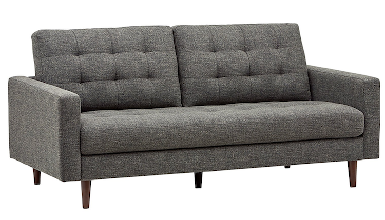 Mid-century tufted dark grey sofa