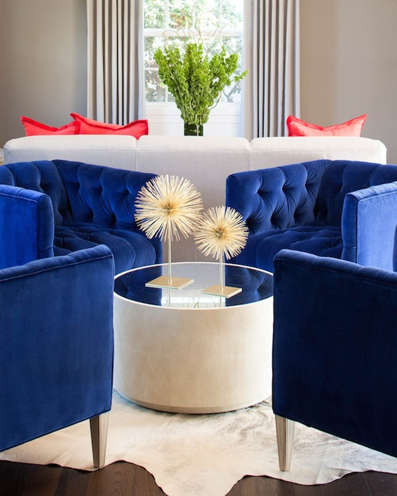 Tufted navy blue accent chairs for living room