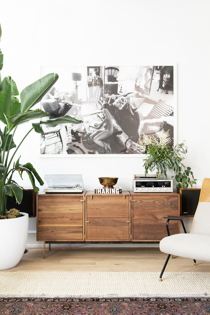 Wooden sideboard living room - Claire Esparros Homepolish home