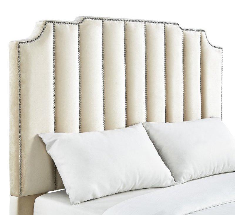 Beige Velvet Upholstered Studded Panel Headboard