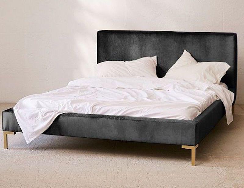 Dark Gray Velvet Platform Bed