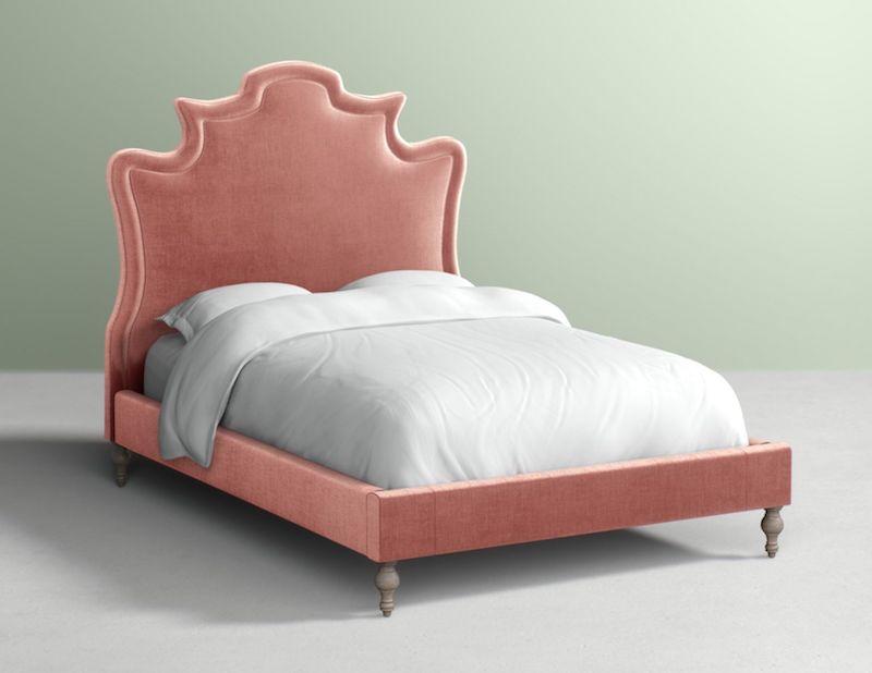 Elegant Rose Pink Velvet Platform Bed