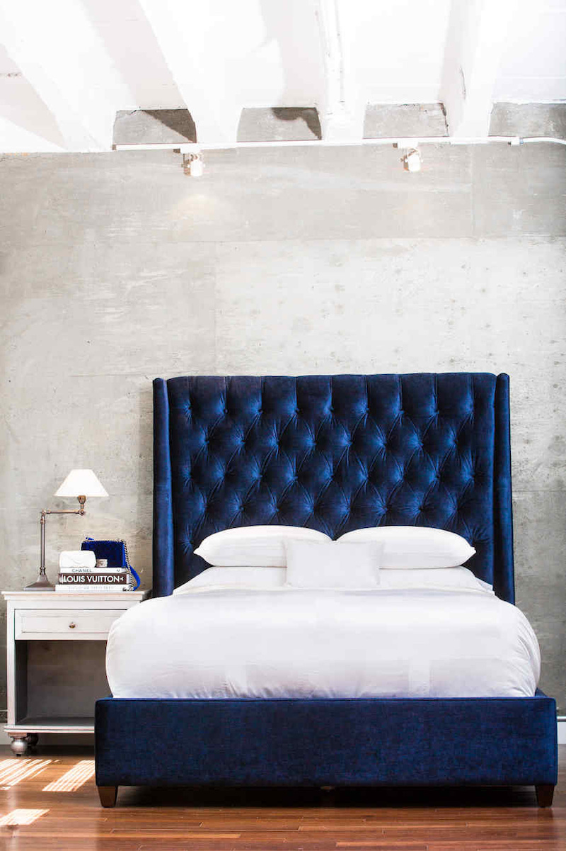 Navy blue velvet bed via Wendys Lookbook