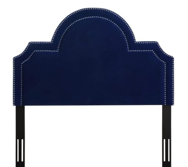 Royal Blue Pebbled Velvet Headboard