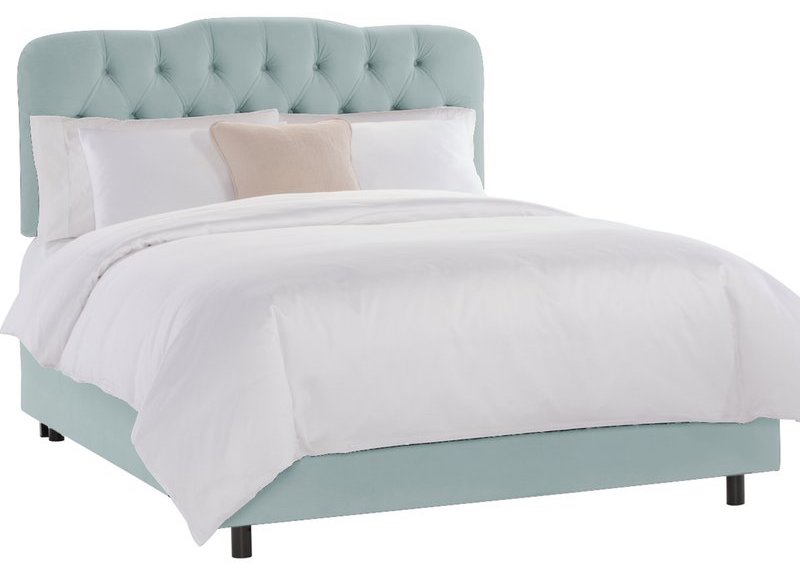 Wayfair Wolfheart Light Blue Tufted Velvet Bed