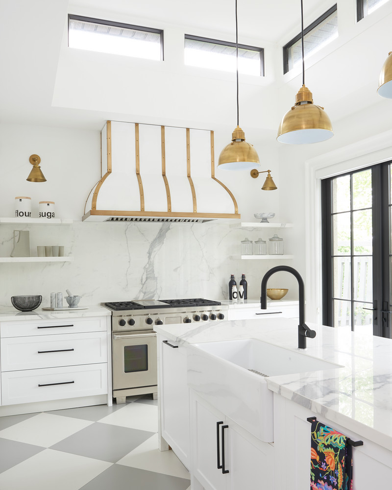 Black Faucet With Farmhouse Sink And Brass Kitchen Pendant Lighting