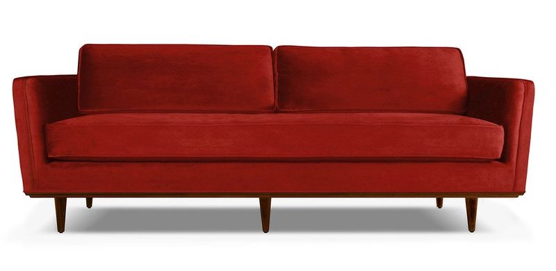 Clayton Mid Century Modern Red Sofa