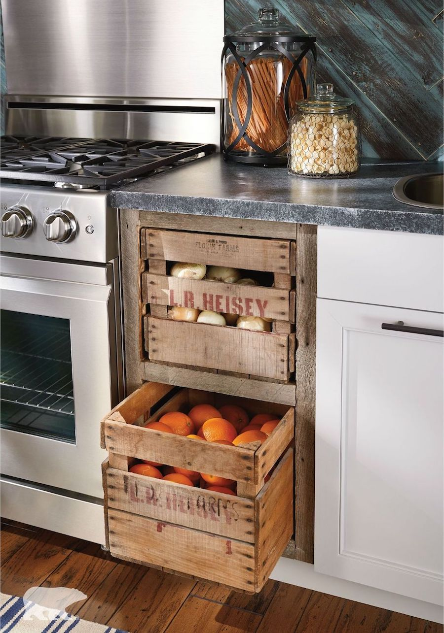 Kitchen Cabinet With Crate Pullout Drawers