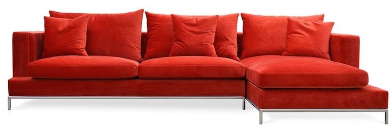 Luxe Red Velvet Sectional Sofa