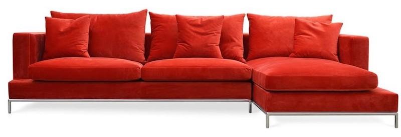 Luxe Red Velvet Sectional Sofa