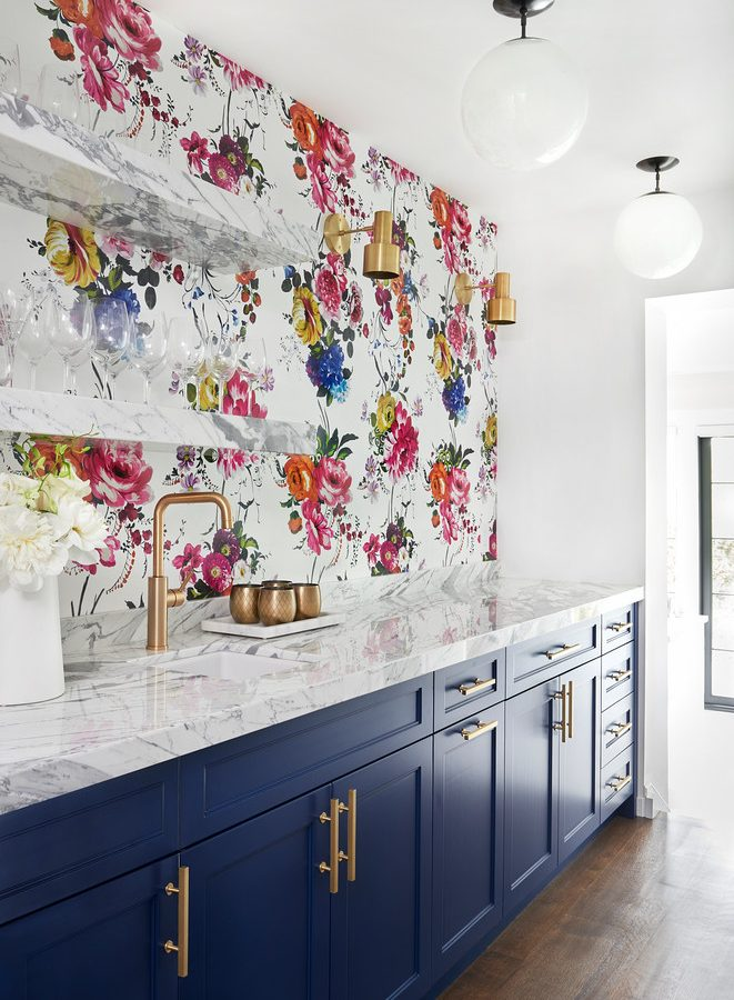A Bold Kitchen Redesign with Striking, Colorful Wallpaper
