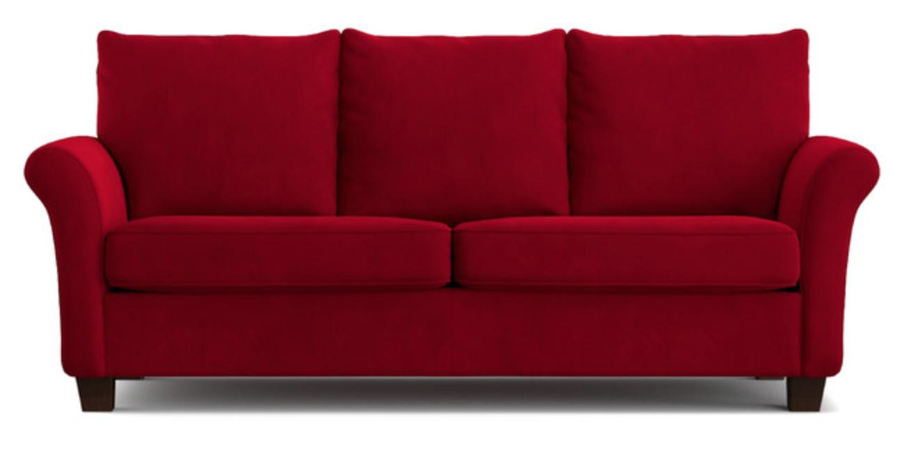 Minimal Red Velvet Sofa