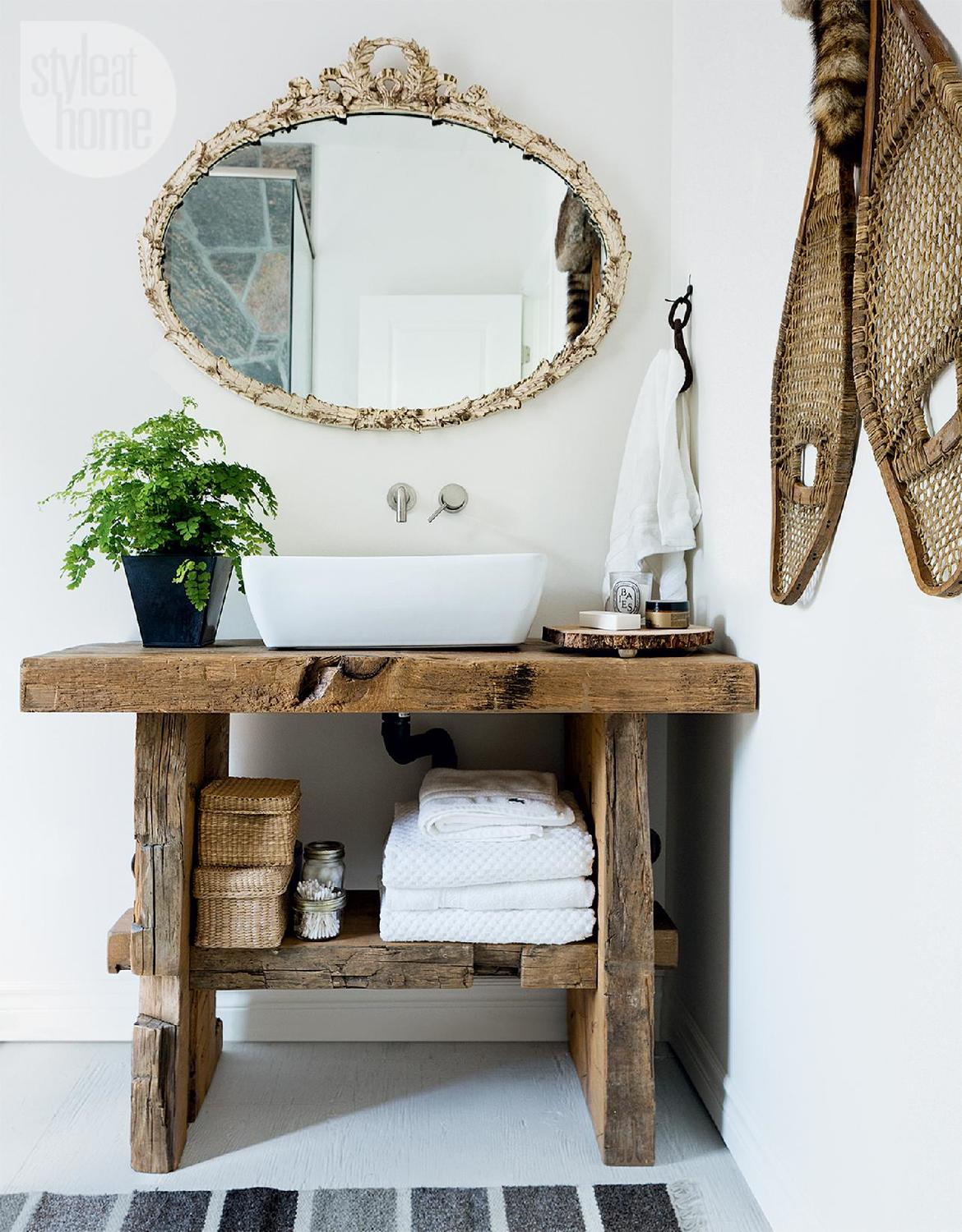 Modern Vessel Sink On A Rough Hewn Vanity From Wooden Beams