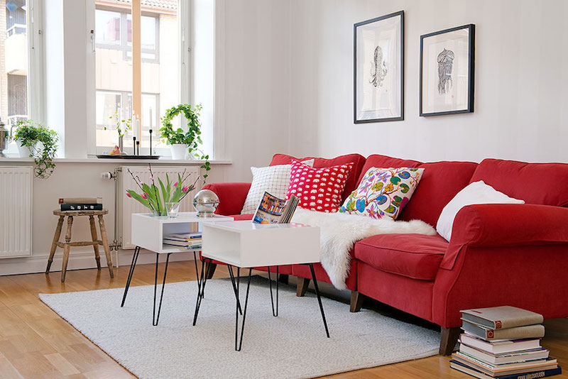 Red Sofa Scandinavian Living Room via Alvhem Brokerage & Interior