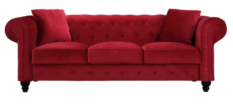 Red Velvet Tufted Sofa with Pillows