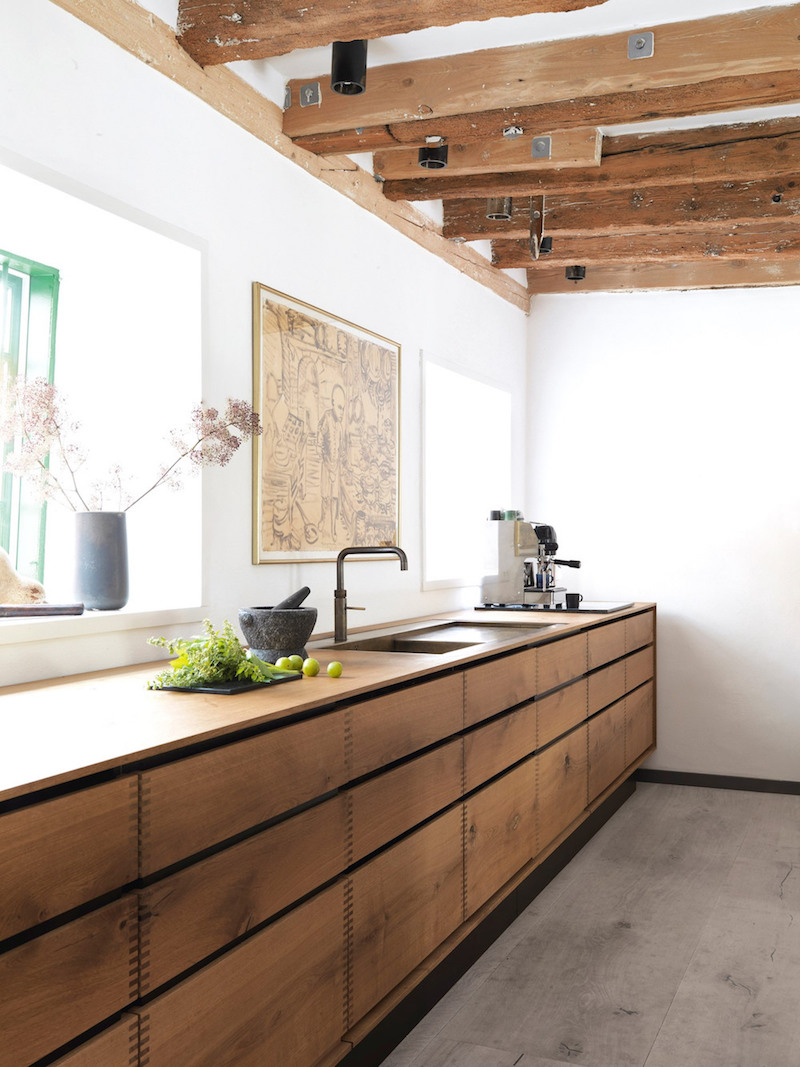 Rustic Kitchen Exposed Wood Beams by Garde Hvalsøe