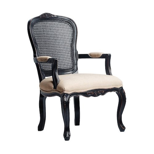 French Country Accent Chairs - Black wood, Cane-back Armchair - Raelyn Carved Armchair