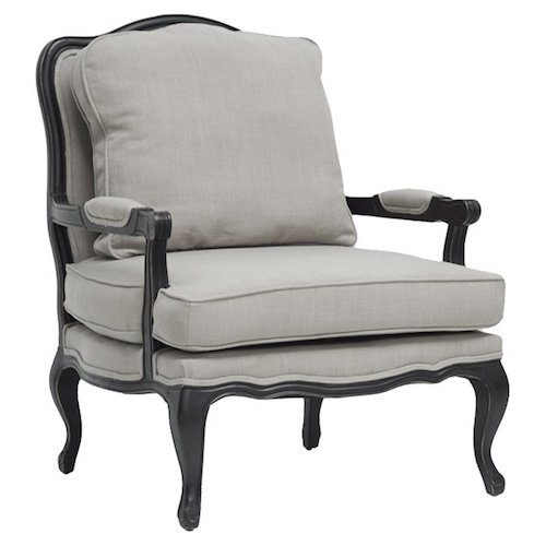 French Country Chairs - French Armchair with black wood frame and gray upholstery - Wetherbee Armchair