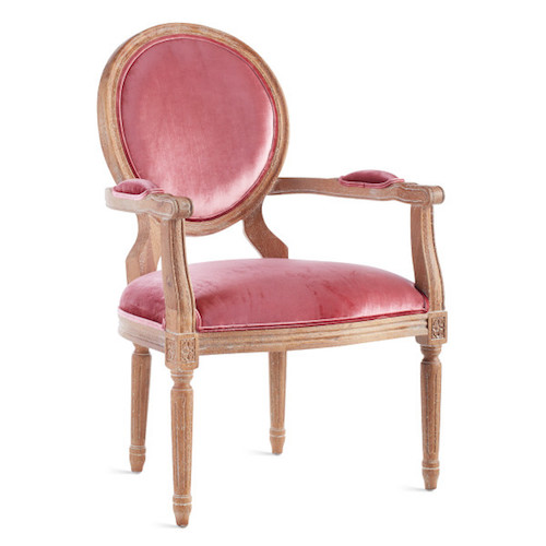 Best French Country Chairs - Pink Fabric French Louis Armchair