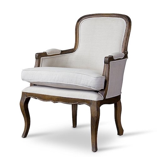 French Country Living Room Chair   French Accent Chair With Dark Wood  Finish And Cream Upholstery