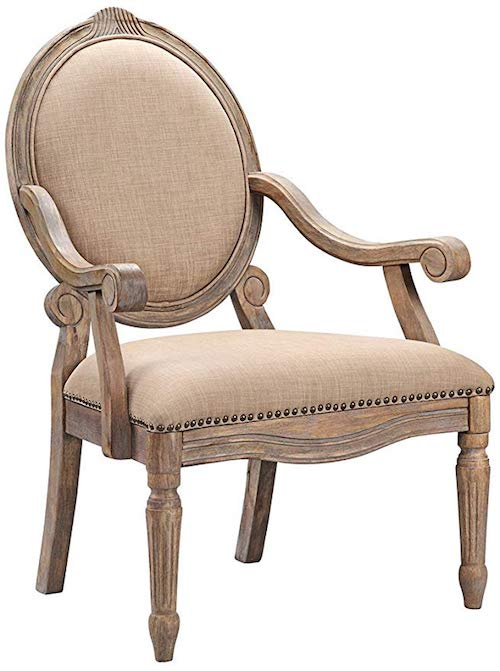 French Country Living Room Chairs - Natural Wood French Country Accent Chair with Round back and Oatmeal Linen Upholstery - Madison Park FPF18 0154 Brentwood Accent Chair