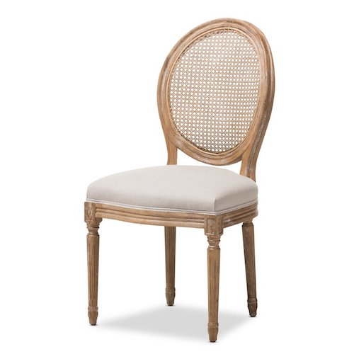 French Country Living Room Chairs - Natural wood French round back side chair with cane backing and off-white upholstery - Westrick Side Chair