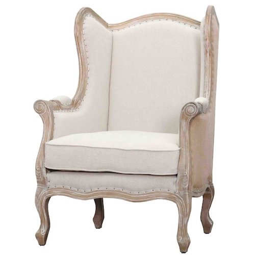 French Country Living Room Chairs - Addington Whitewashed French Country Wingback Chair