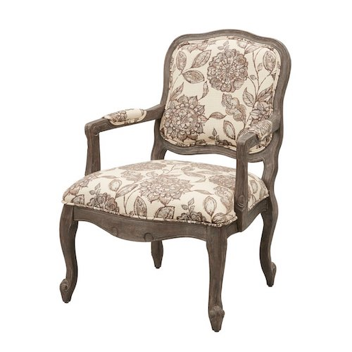French Country Living Room Chairs - French Country Floral Upholstery Wood Armchair - Bayard Back Exposed Wood Armchair