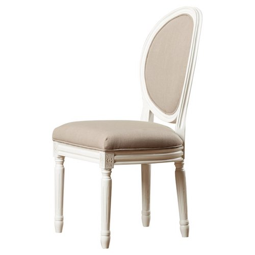 French Country Living Room Chairs - White French Country Side Chair with Beige Fabric - Leta Side Chair