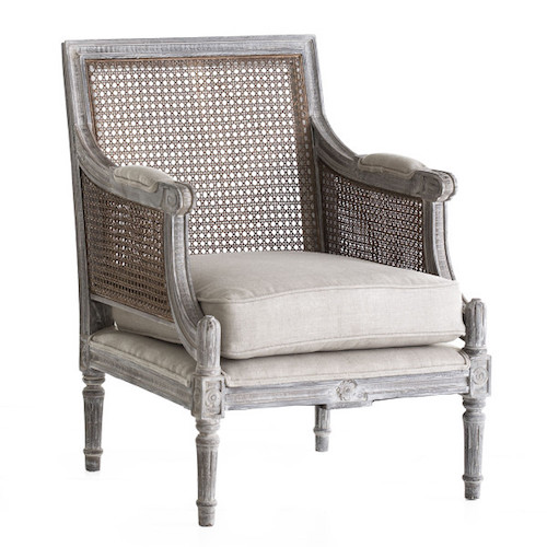 French Country Accent Chairs - Linen And Cane Back Chair