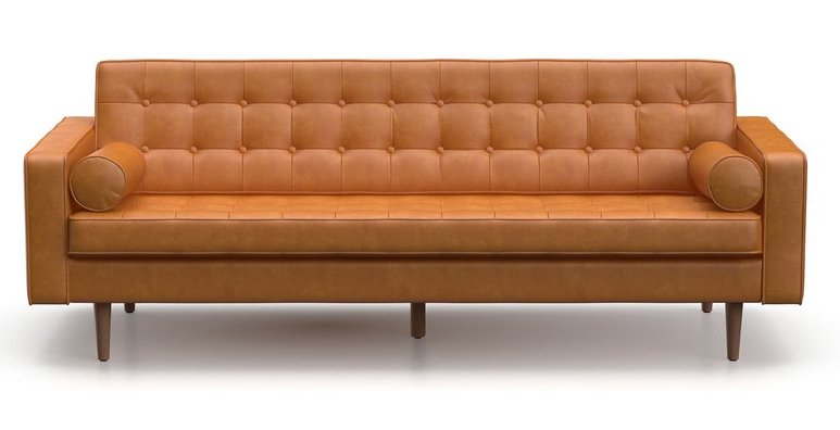 Faux Leather Tufted Sofa