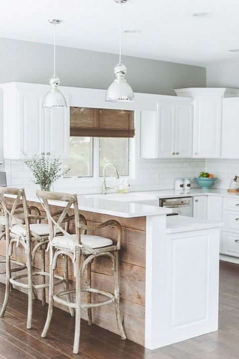 Rustic Bentwood Barstools And Reclaimed Wood On Kitchen Island