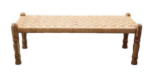 Shabby Chic Woven Bench