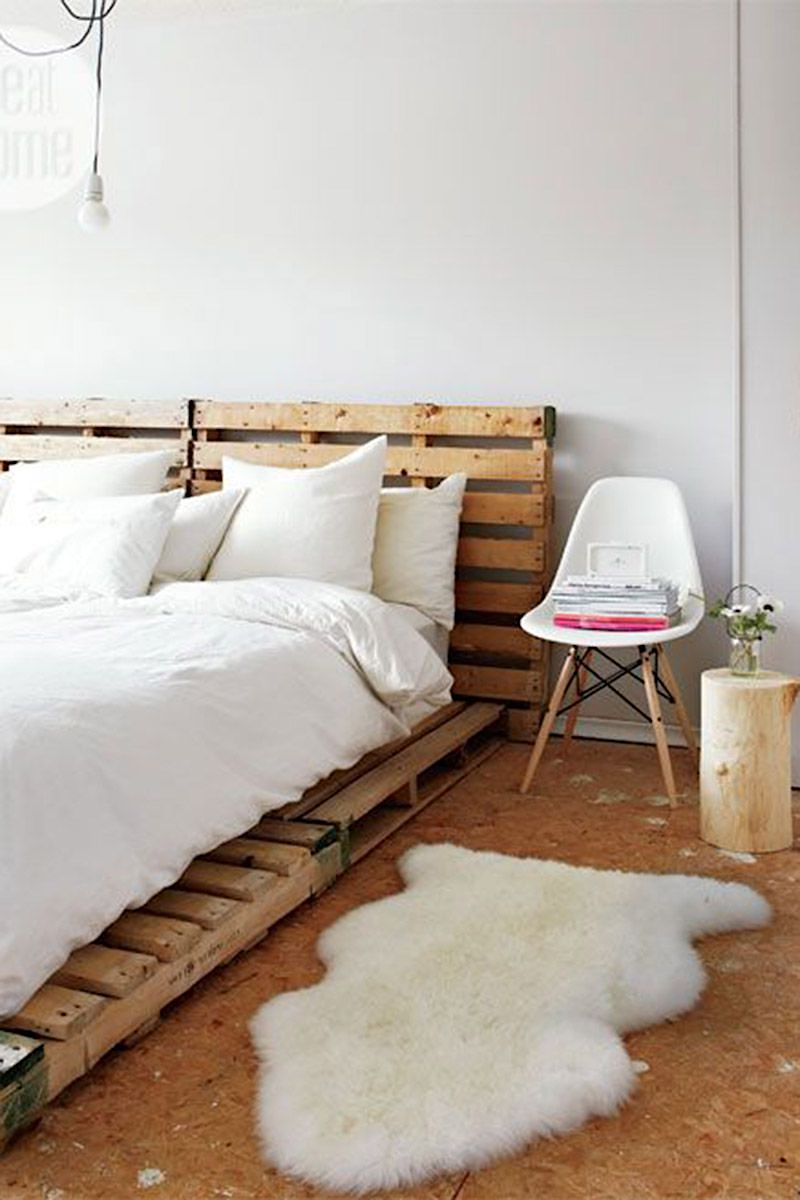 Wood Palettes As Bed Frame And Headboard