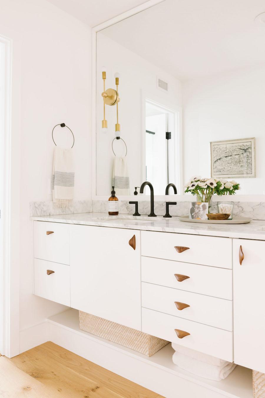 Marble Vanity Bathroom With Black Hardware
