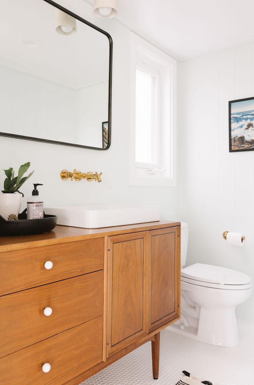 Mid Century Modern Bathroom Vanity With Vessel Sink