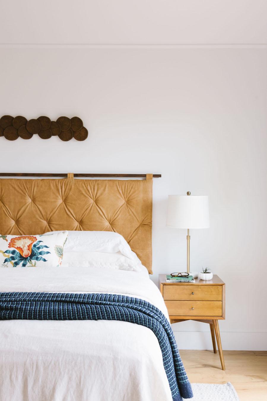 Tan Leather Tufted Headboard Bedroom