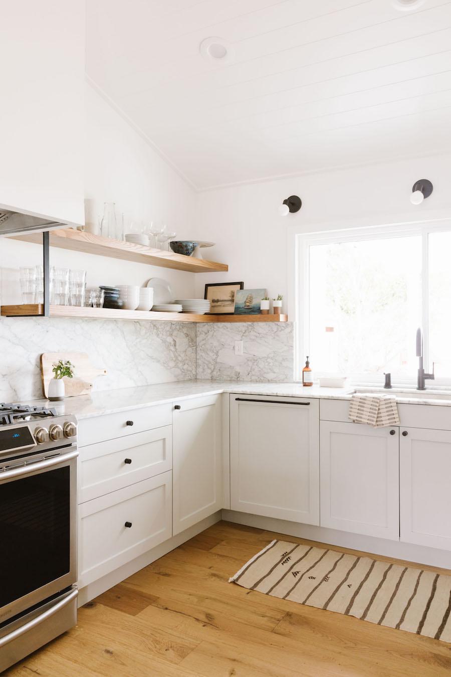 White Marble Backsplash Kitchen Minimal Scandinavian Style In California