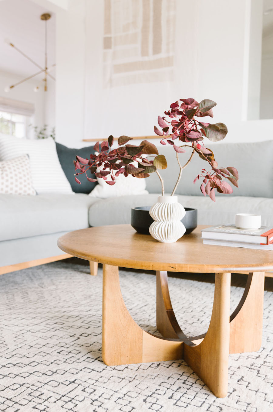 Wood Coffee Table With Grey Scandinavian Minimal Couch