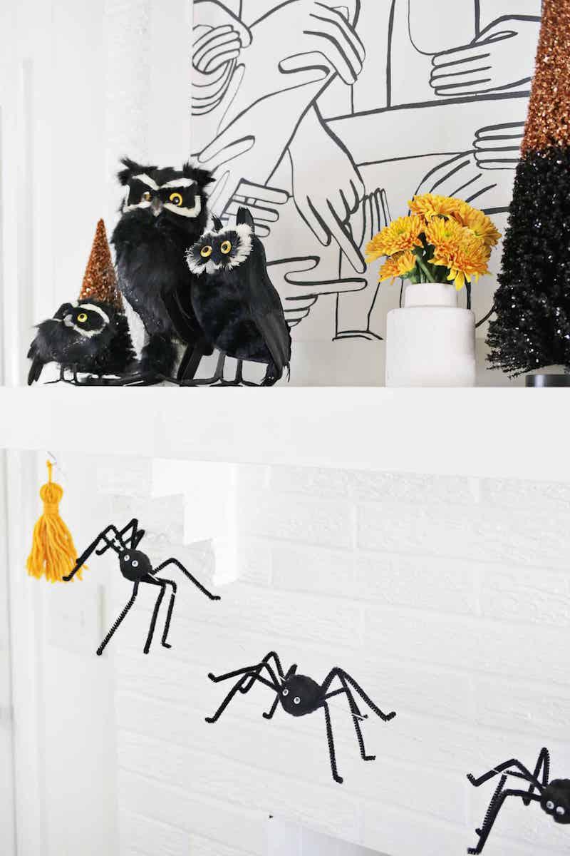 3D Spider Garland DIY Halloween Decor