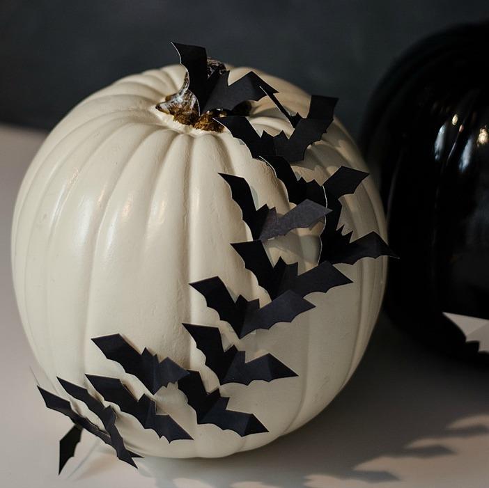 Bats Flying Across A Pumpkin DIY Halloween Decor