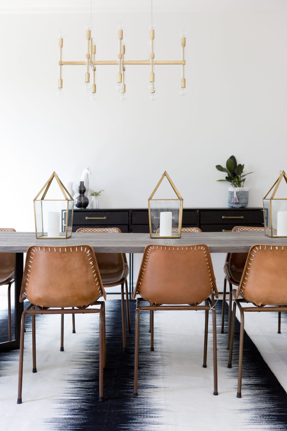 Brown Leather Dining Room Chairs With Ombre Rug