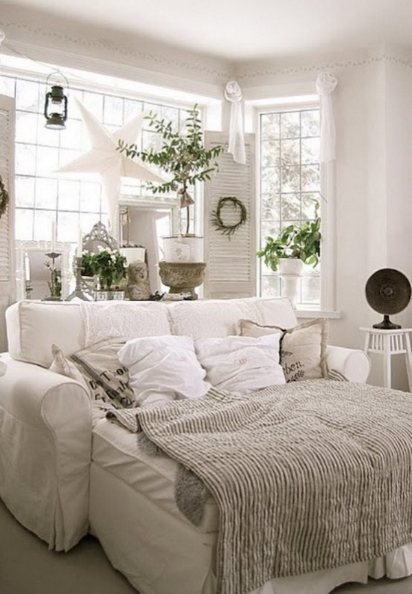 Cozy White Sleeper Sofa Set Up