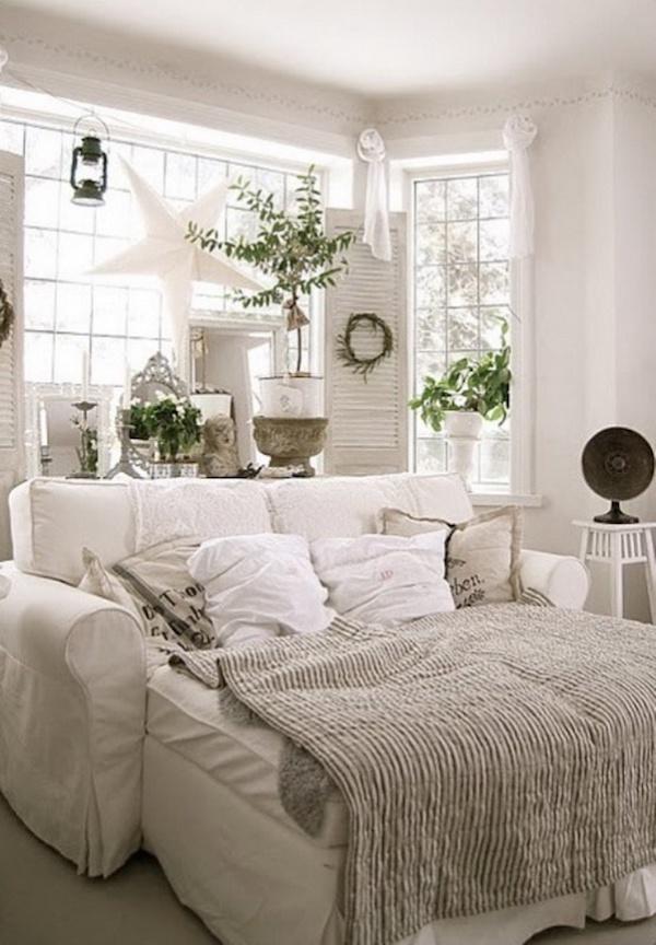 Cozy White Sleeper Sofa Set Up
