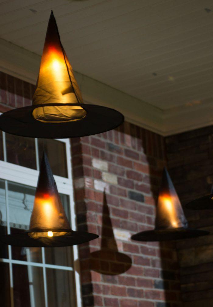 DIY Halloween Floating Witch Hat Luminaries