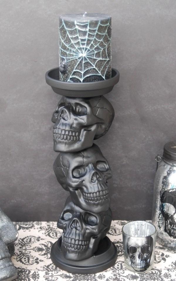 DIY Halloween Stacked Skull Candle Holder