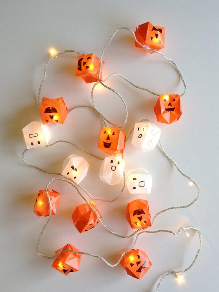 DIY Origami Halloween String Lights