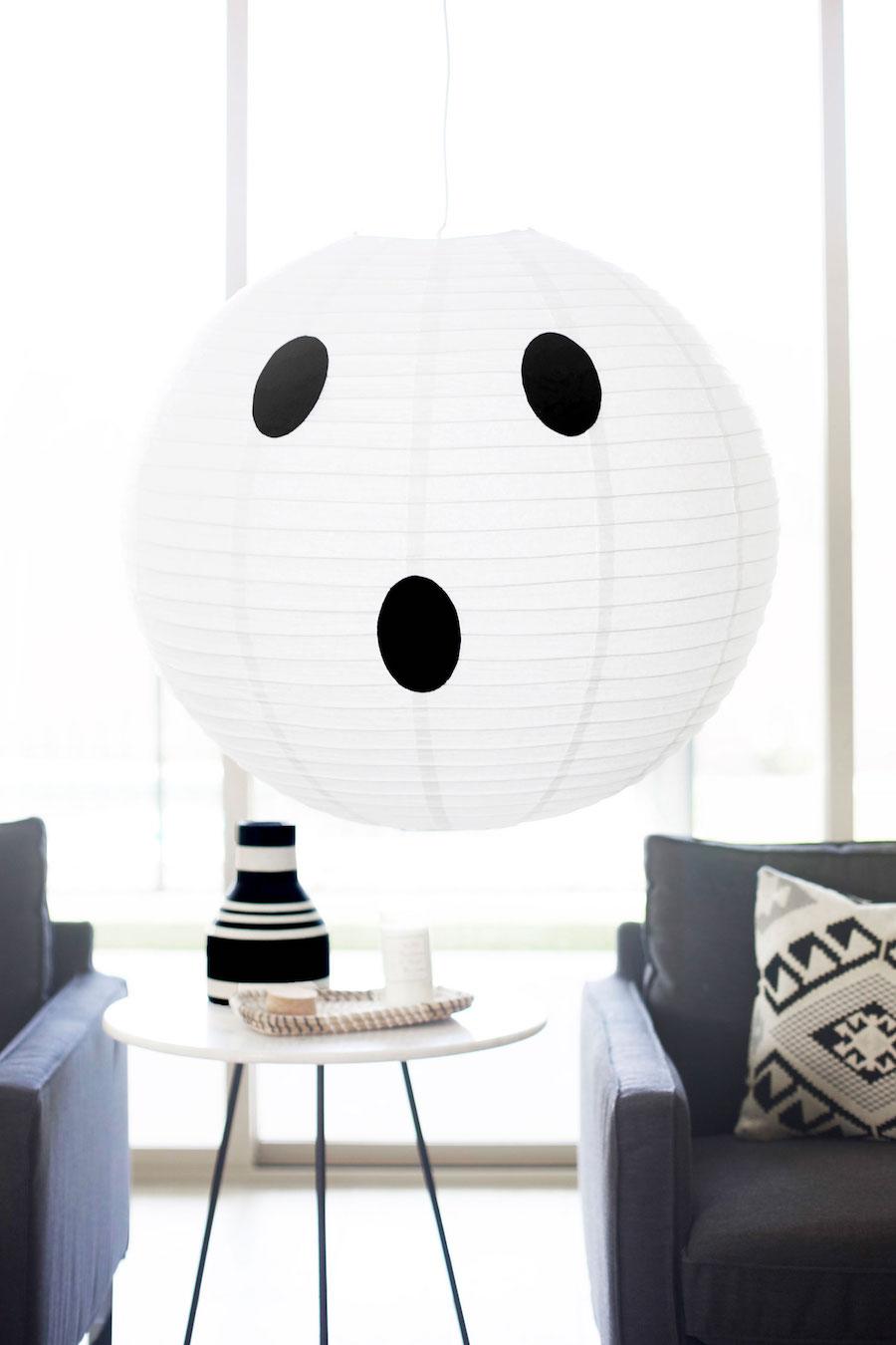DIY Paper Lantern Ghost Light Halloween Decor