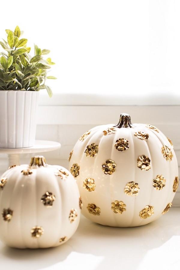 DIY Sequin Polka Dot Pumpkin Project