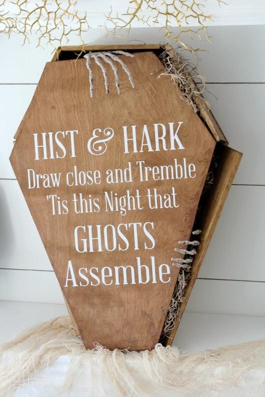 DIY Creepy Stained Coffin - Halloween Decor via Thehouseofsmiths